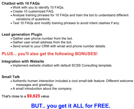 Free Chatbot offer